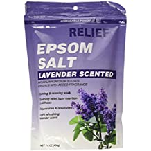 Relief MD Epsom Salt, Lavender Scented, Natural Magnesium Sulfate Crystals with Added Fragrance, 16 oz.
