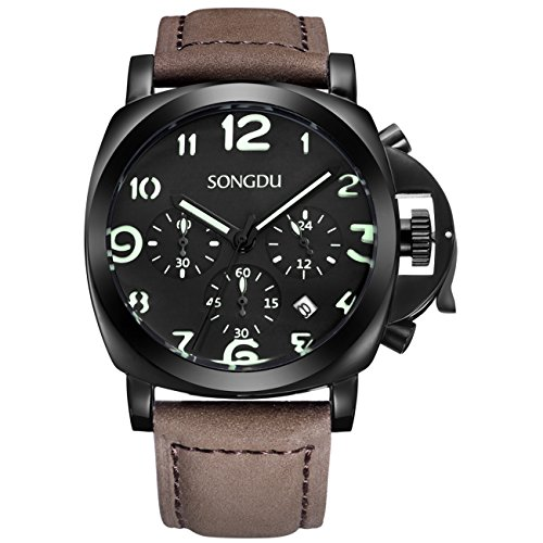 SONGDU Men's Quartz Chronograph Date Watch with Luminous Black Dial and Leather - In Case Glasses The Glow Dark