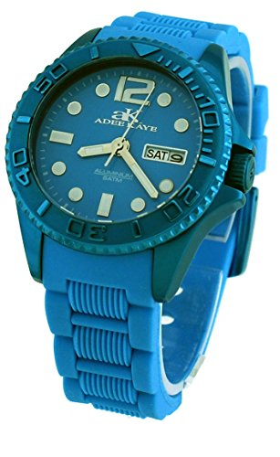 Adee Kaye #AK5433-L Women's Aluminum D'Allumino Collection Turquoise Silicone Band Watch