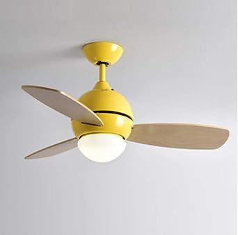 Iluminación Ventilador de techo colorido moderno simple macaron Ventiladores LED para sala de estar Refrigeración ...