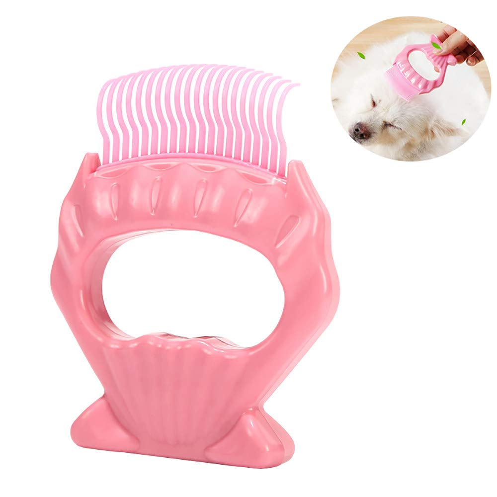 ZNZN Shell Pet Grooming Comb Pet Grooming Brush Professional Self Cleaning Combs, Deshedding Tool,Ergonomic Comb for Dogs and Cats,Pink