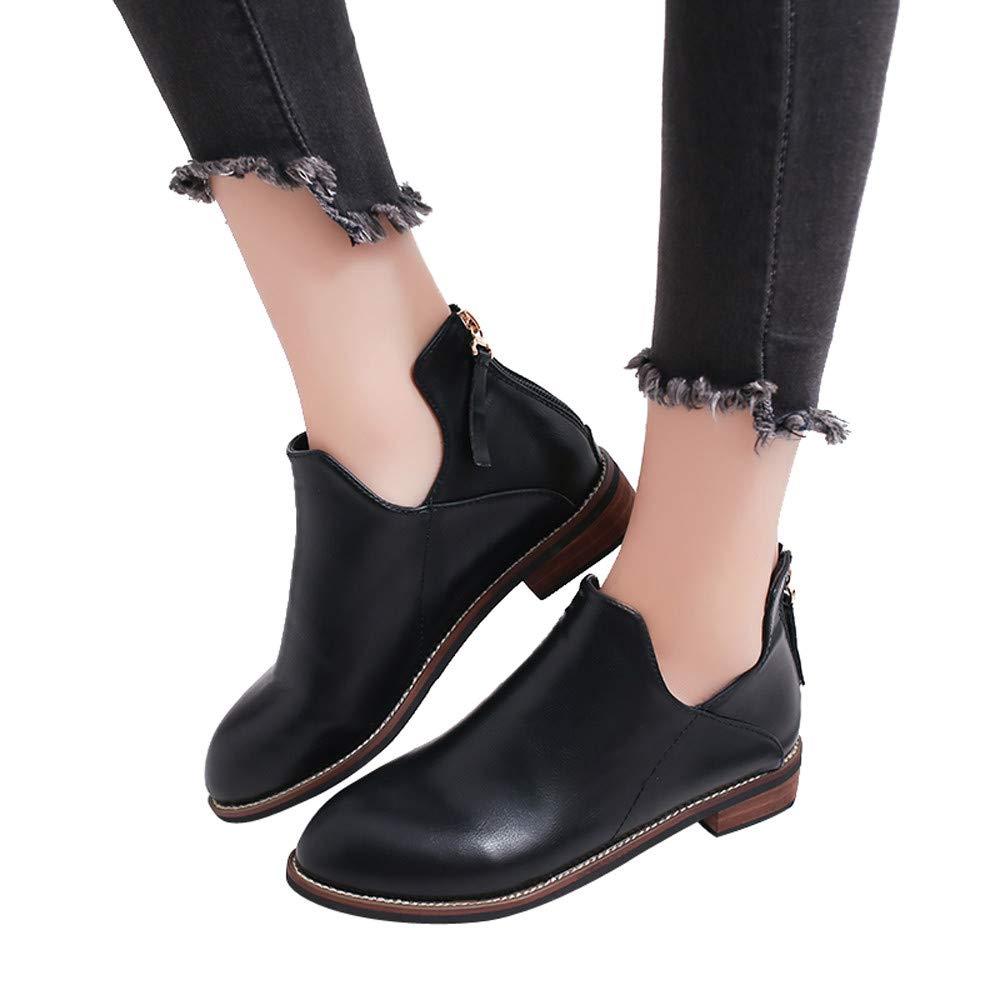 Womens Autumn Winter Low Heel Flat Block Ankle Boots Ladies Comfortable Work Shorty Shoes (Black, US:7.0)