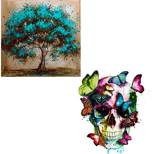 DIY 5D Diamond Painting by Number Kits, 2 Pack Crystal Rhinestone Diamond Embroidery Paintings Arts Craft for Halloween Wall Décor(Skull & Tree) - Stress and Anxiety Relief, Killing Time -