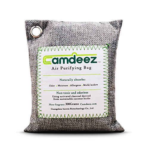 Camdeez Air Purifying Bag Coconut-Shell Activated Charcoal Naturefresh,Odor Eliminator Air Freshener for Car Closet Pet Litter Bathroom,Odor Aborber, Air Purifier Bag with Hanging Hole-200g (Gray1)