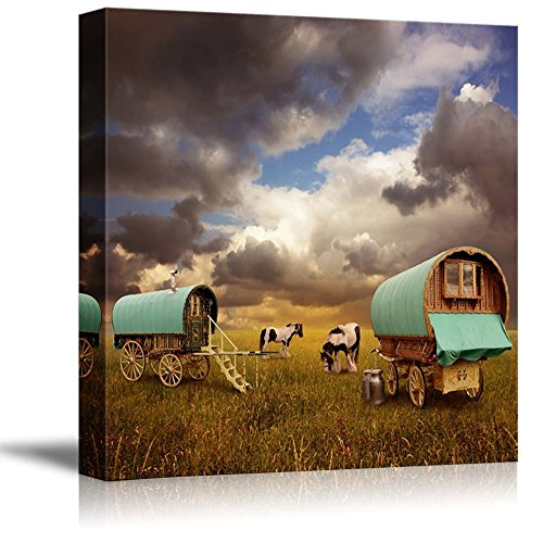 - wall26 - Canvas Prints Wall Art - Old Gypsy Caravans, Trailers, Wagons with Horses | Modern Wall Decor/Home Decoration Stretched Gallery Canvas Wrap Giclee Print. Ready to Hang - 24