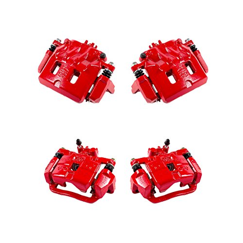 CCK01248 FRONT + REAR [ 4 ] Performance Grade Semi-Loaded Powder Coated Red Caliper Assembly Set Kit