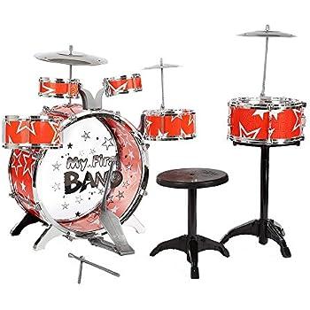 biszoer jazz drum set kids drums kit toy 12 piece kids 6 cymbal chair kick pedal. Black Bedroom Furniture Sets. Home Design Ideas