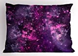 Lunarable Purple Pillow Sham, Nebula Gas Cloud Deep Dark in Outer Space with Star Clusters Galaxy Infinity Solar Sky, Decorative Standard Queen Size Printed Pillowcase, 30 X 20 inches, Purple