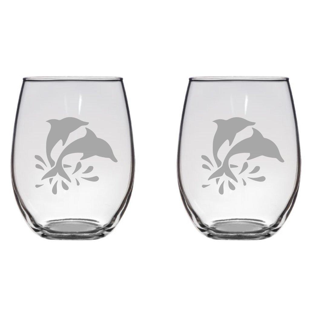 Dolphins Engraved Wine Glass Pint Glass, Mason Jar, Champagne Flute, Gift Ocean, Gift, Sea, Beach, Animal