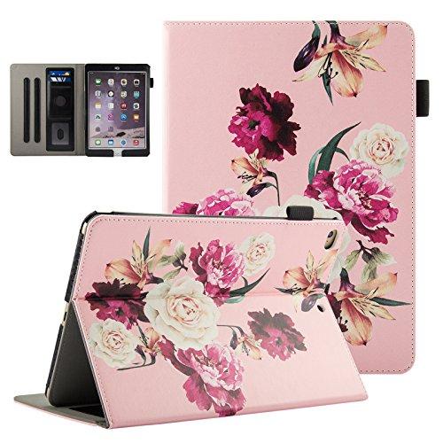 iPad 9.7 Inch 2017/iPad Air 2/iPad Air Case-UUcovers [Corner Protection] Multi-Angle Viewing Folio Stand Cover w/Pocket,Auto Wake/Sleep for Apple iPad 9.7 Inch 2017,iPad Air 1 2,Pink Flower