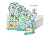 Mermaid Friends Birthday Party Supplies Pack Serves 16: Dinner Plates, Luncheon Napkins, Cups, Table Cover and Birthday Candles