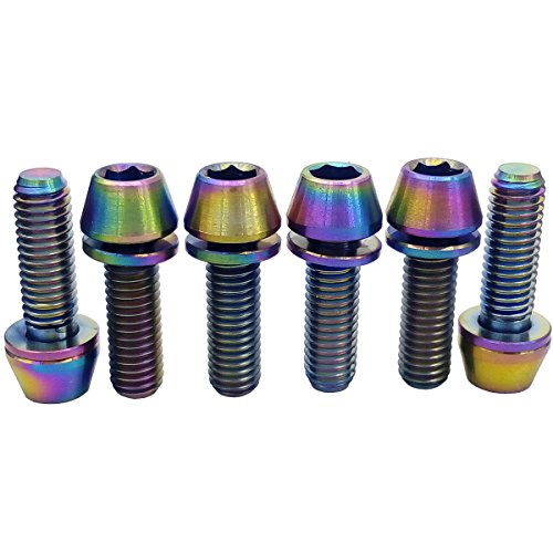 MCTi Bicycle Titanium Tapered Washer Head Allen Hex Bolts Screws Metric M5x16mm 6 Packed Colorful