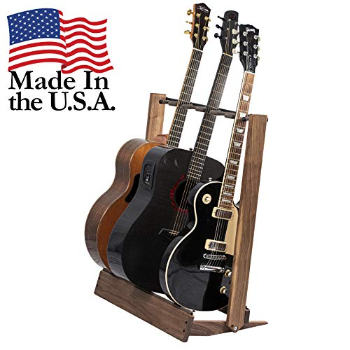 Walnut Guitar Rack String Swing CC34 Holder for Electric Acoustic and Bass Guitars - Stand Accessories for Home or Studio - Keeps Musical Instruments Safe without Hard Cases