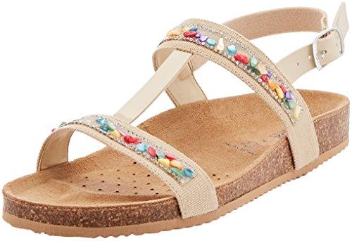 Geox J New Sandal Aloha B, Sandalias con Tira Vertical Para Niñas Beige