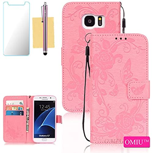 Galaxy S7 Case,S7 Case, OMIU(TM) Wallet PU Leather Embossed Butterfly Case with Credit ID Card Slots for Samsung Galaxy S7-Pink Sales