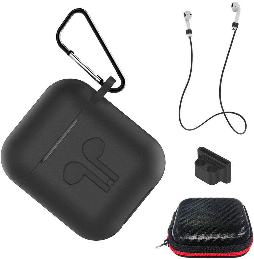 AICEK Funda Compatible para AirPods Silicona Carcasa para Apple AirPods 1 & 2 Protective Case Cover Accesorios con Cuerda Anti-pérdida,Mosquetón,Estuche, Negro