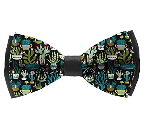 Men Paisley Pre-Tied bow ties, Gnomes Succulents Cacti Terrarium Polyester Casual And Formal Butterfly Bow Tie Adjustable Length Tuxedo Accessories Butterfly Bow Tie for -