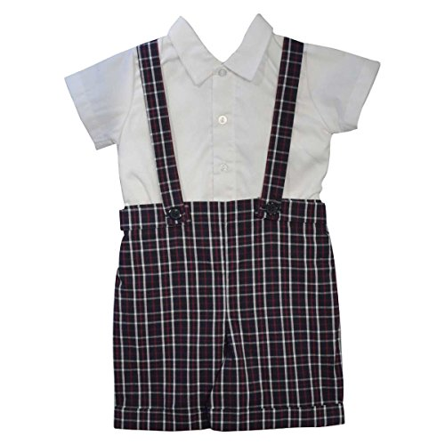 Suit Bobby (Boy's Bobby Suit (Baby) Plaid with Suspenders (12 Months))