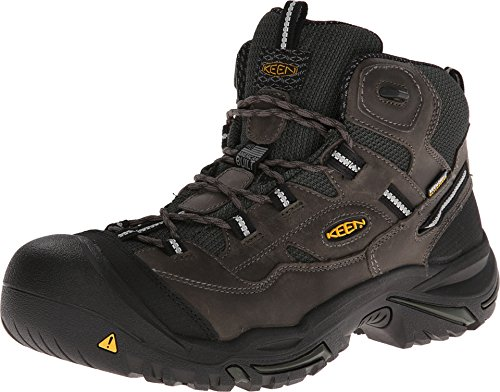 KEEN Utility - Men's Braddock  Mid Waterproof (Steel Toe) Work Boots, Gargoyle/Forest Night, 10 D