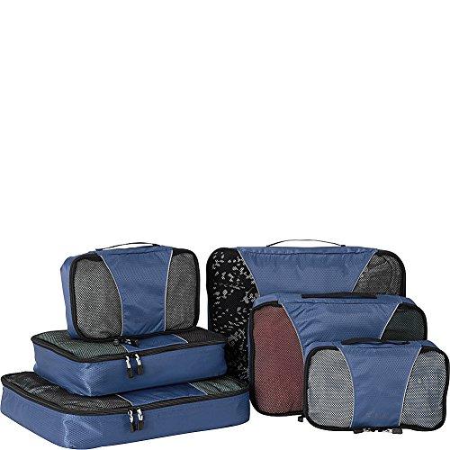 eBags Small/Medium/Large Packing Cubes for Travel - 6pc Sampler Set - (Denim)