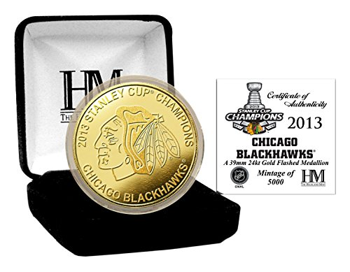 """NHL Chicago Blackhawks 2013 Stanley Cup Champs Coin, 8"""" x 4' x 1"""", Gold"""