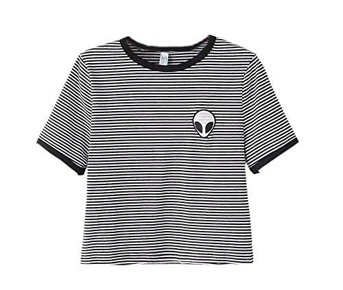 shirt Donne Tee Corta Sciolto Top Striscia Stampa T Deley Camicetta Manica Crop Casual Alieno Estate RqaPa
