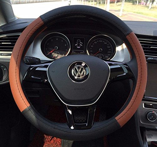 Brown Color Super Sport Steering Wheel Car Cover Made of PU Leather 15