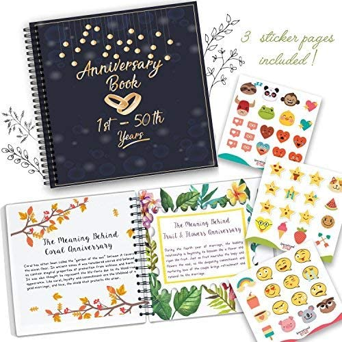 A Hardcover Journal To Document Wedding Anniversaries From The 1st To the 50th Year Wedding Anniversary Book Unique Couple Gifts For Him /& Her Personalized Marriage Presents For Husband /& Wife.