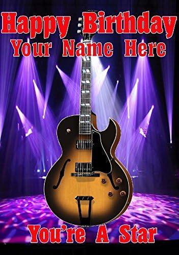 Semi acústica Sunburst guitarra cptmi22 feliz cumpleaños A5 ...