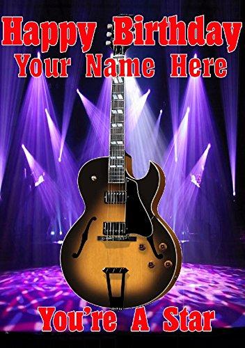 Semi acústica Sunburst guitarra cptmi22 feliz cumpleaños A5 Tarjeta de felicitación personalizadas publicado por nosotros Regalos