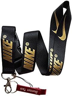 75f0bfa1803e8b Shenton Tech Nike Key Chain Keyring Neck Straps Lanyard(Black With  Gold)-With