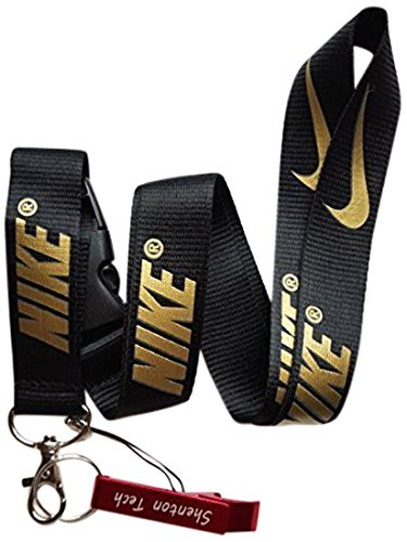 Teeqiang Nike Key Chain Keyring Neck Straps Lanyard(Black with Gold)-with Red Bottle Opener Keychain by Shenton Tech