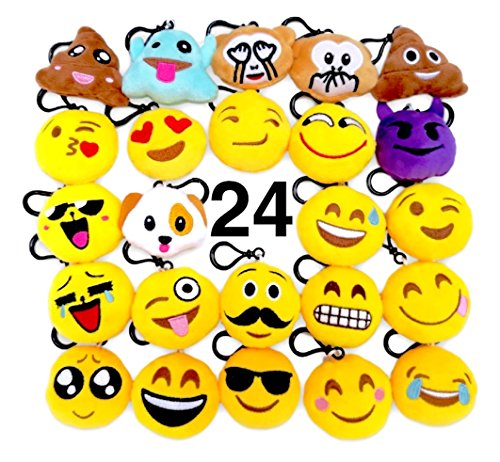O'Hill 24 Pack Emoji Keychains Mini Plush Pillows Emoji Party Supplies Favors Goodie Bags Christmas Pinatas For Sale