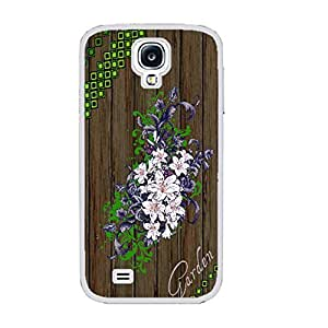 Vintage Floral Series Hybrid Wood Pattern Print Hard Back Case Cover Protector Fit for Samsung Galaxy S4 I9500 Cell Phone (aztec white ju5233)