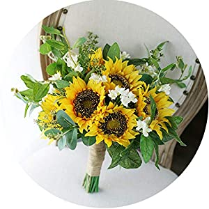 Country Bridal Bouquet Yellow Sunflower Bohemian Wedding Boho Bride Artificial Wedding Bouquets 51