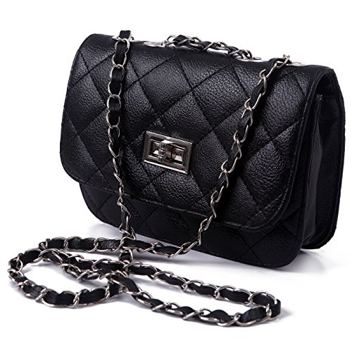 HDE Mini Faux Leather Quilted Shoulder Bag Clutch with Lace Threaded Metal Chain Strap (Black) (Quilted Leather Crossbody Bag compare prices)