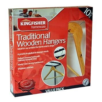 Kingfisher Martín pescador de madera ropa perchas, marrón, juego de 10: Amazon.es: Hogar