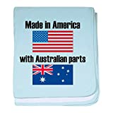 CafePress - Made In America With Australian Parts - Baby Blanket, Super Soft Newborn Swaddle