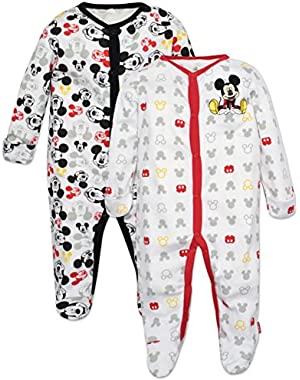 Mickey Mouse Footie Pajamas 2 Pack White Size 0-6 Months