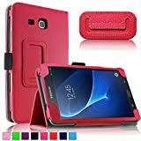 Galaxy Tab A 7.0 Case, Infiland Folio Slim Fit PU Leather Case Cover Samsung Galaxy Tab A 7.0 7-Inch Tablet 2016 Release Tablet, Red