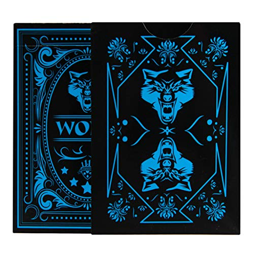 Fmingd Wolf Poker Waterproof PVC Playing Cards Poker Card with Black Backing Magic Toy Magic Props