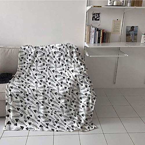 Suchashome Children's Blanket Chair Warm All Season Blanket for (50 by 60 Inch,Trippy Decor,Funny Fish Bone Pattern Abstract Tattoo Style Artistic Modern Print,Charcoal Grey -