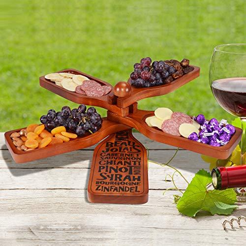 Mahogany Server - Primeware Cambridge 5 Tier Mahogany Wood Server Plates with Wine Glass Holder (Mahogany Wine Bottle)