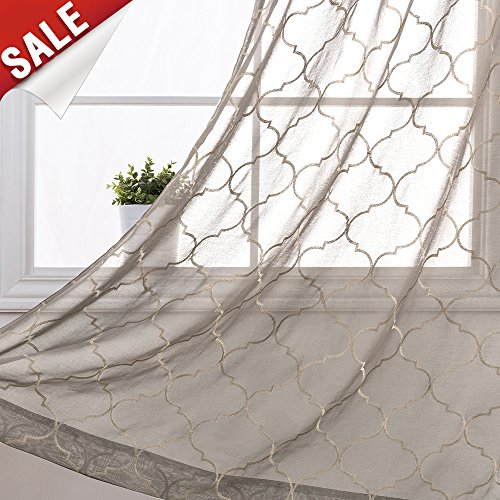 Design Window Panel (Embroidery Sheer Curtains for Bedroom Moroccan Tile Window Curtain Panels Geometry Lattice Semi Sheer Curtains for Living Room 55