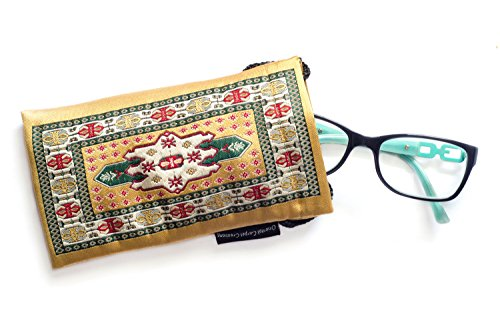Eyeglass Case &/or Cell Phone Case - Oriental Carpet Woven Fabric Kayseri (Gold Collection Bookmarks)