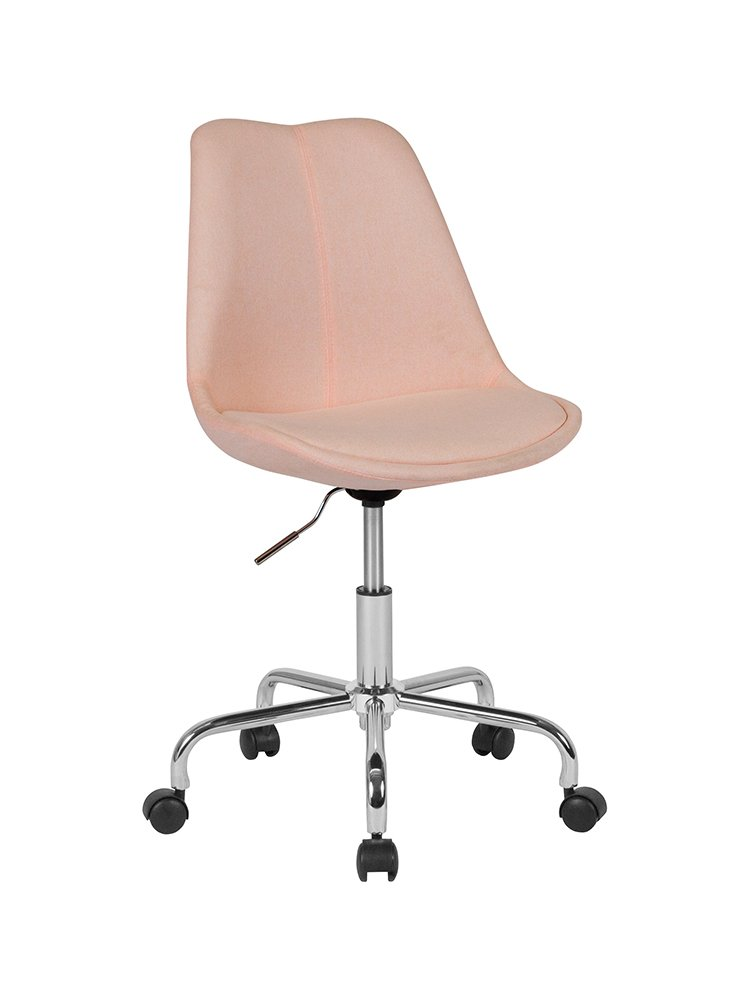 Flash Furniture Aurora Series Mid-Back Pink Fabric Task Office Chair with Pneumatic Lift and Chrome Base