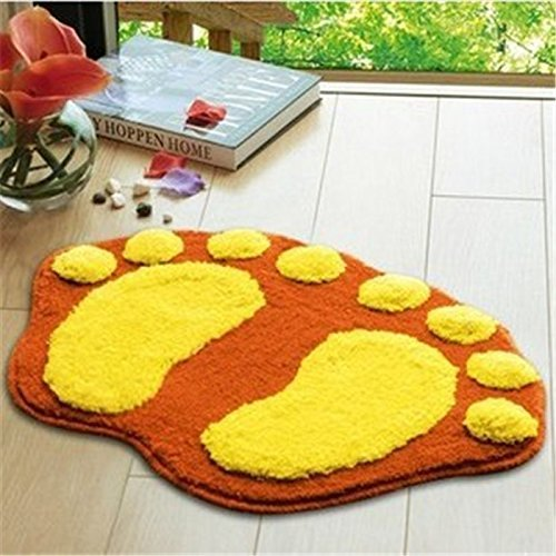 Airblasters Microfiber Lovely Flocking Big Feet Pad Floor Mat Bedroom Area Rug Carpet 58.538.5cm(Orange)