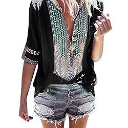 Tnaiolral Ladies T Shirt Deep V Neck Print Half Sleeve Summer Loose Tops Blouse M Black