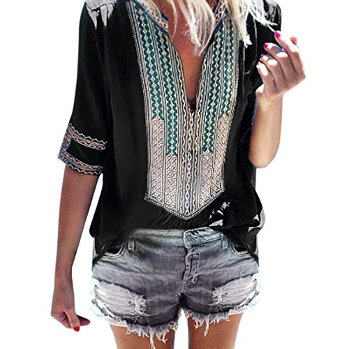 Sunhusing Women's Deep V-Neck Bohemian Print Half Sleeve Tops Casual Beach Wind T-Shirt Black