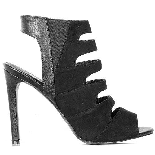 Cut Out Back Peep Toe Stiletto Heel Sandals Black oPByhm